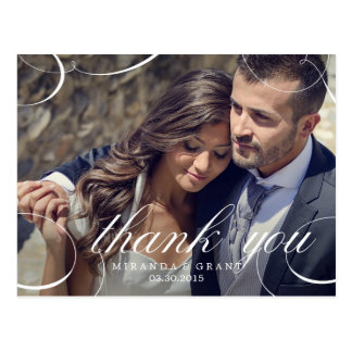 Stunningly Scripted Wedding Photo Thank You Card Post Card