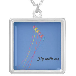 Stunt Kite Flying in the Sky Square Pendant Necklace