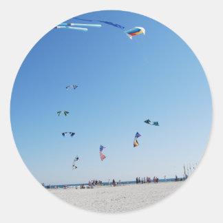 Stunt Kites in Formation Classic Round Sticker