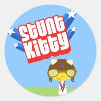 Stunt Kitty Classic Round Sticker