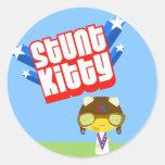 Stunt Kitty Round Stickers