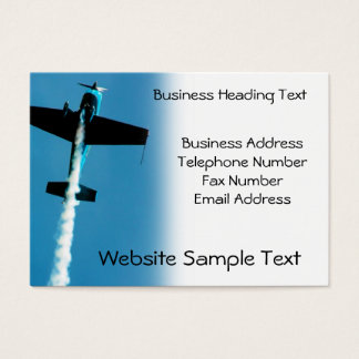 Stunt plane flying with smoke trail business card