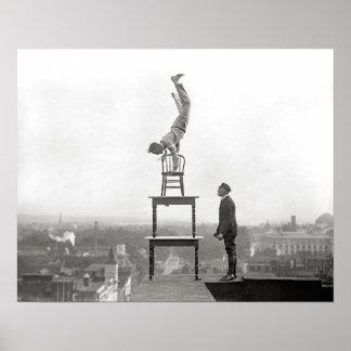 Stuntman Performs Balancing Act, 1917. Vintage Poster