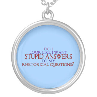 Stupid Answers to my Rhetorical Questions? Silver Plated Necklace