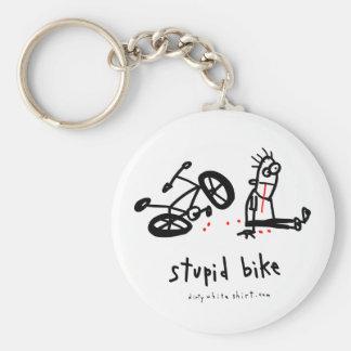 Stupid Bike Basic Round Button Keychain