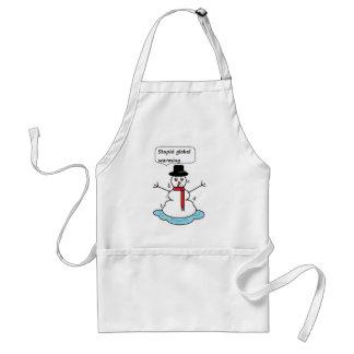 stupid global warming snowman adult apron