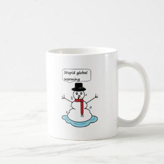 stupid global warming snowman coffee mug