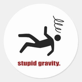 Stupid Gravity - Funny Stuntman Daredevil Classic Round Sticker