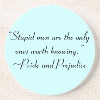 Stupid Men Worth Knowing Jane Austen Quote Drink Coaster