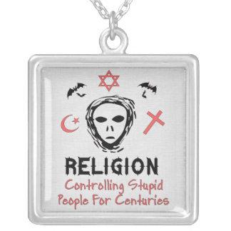 Stupid People Control Square Pendant Necklace