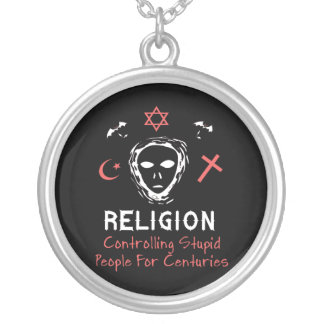 Stupid People Control Round Pendant Necklace