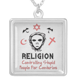 Stupid People Control Square Pendant Necklace
