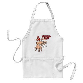 stupid pig dunce hog cartoon aprons