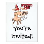 stupid pig dunce hog cartoon 4.25x5.5 paper invitation card