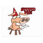 stupid pig dunce hog cartoon postcard