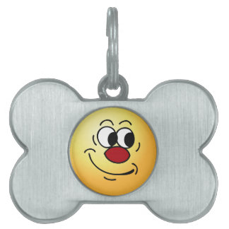Stupid Smiley Face Grumpey Pet ID Tag