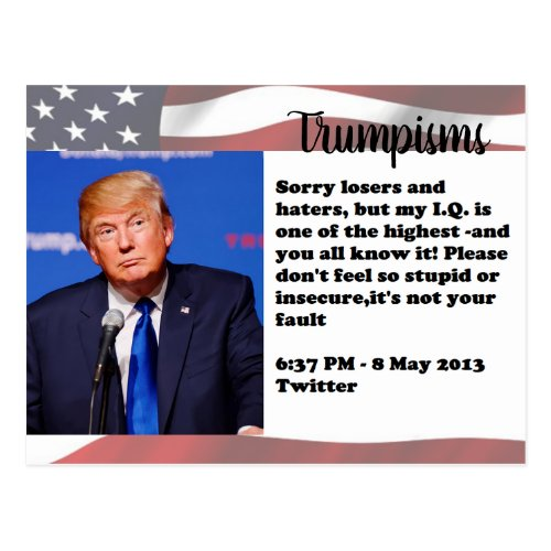 Stupid Things Trump has said Postcard Souvenir