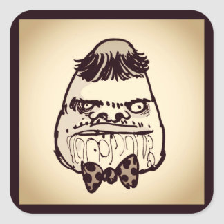 stupid troll face with bow tie funny cartoon square sticker