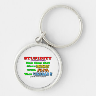 Stupidity At It's Best #1 Silver-Colored Round Keychain