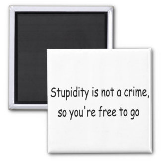 Stupidity is not a crime 2 inch square magnet