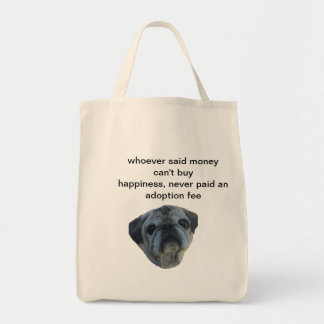 sturdy bag with a cute older rescue pug on it