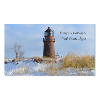 Sturdy Lighthouse on a Rocky Coast in Winter Double-Sided Standard Business Cards (Pack Of 100)