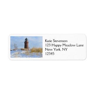 Sturdy Lighthouse on a Rocky Coast in Winter Return Address Labels