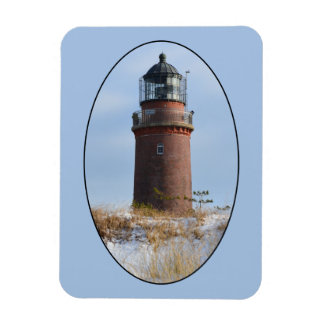 Sturdy Lighthouse on a Rocky Coast in Winter Flexible Magnet