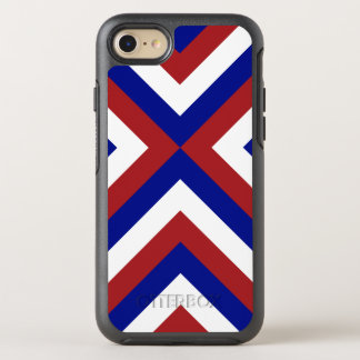 Sturdy Red, White, and Blue Chevrons OtterBox Symmetry iPhone 7 Case