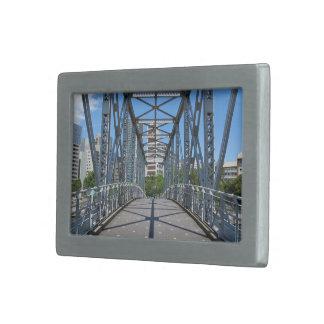 Sturdy steel bridge in city belt buckles