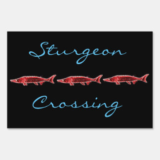 sturgeon crossing Thunder_Cove black Lawn Sign