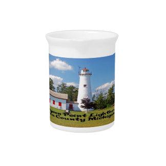 Sturgeon Point Light House Michigan Drink Pitcher