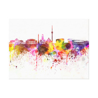 Stuttgart skyline in watercolor background canvas print