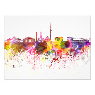 Stuttgart skyline in watercolor background photo print