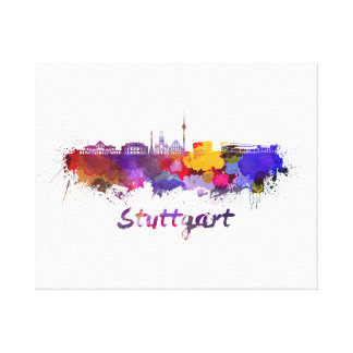 Stuttgart skyline in watercolor canvas print