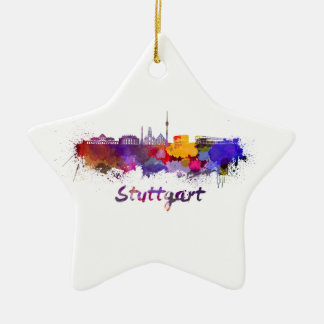 Stuttgart skyline in watercolor ceramic ornament