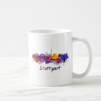 Stuttgart skyline in watercolor coffee mug