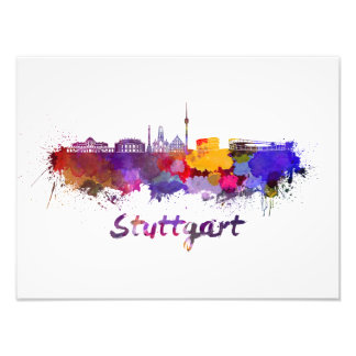 Stuttgart skyline in watercolor photo print