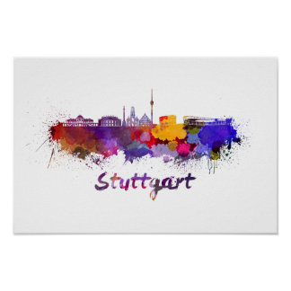 Stuttgart skyline in watercolor poster