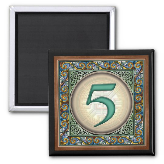 """Style B, """"5"""" - Celtic Number Magnets"""