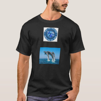 "Style: Basic T-Shirt with logo ""Save the dolphins"""