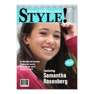 Style! Bat Mitzvah Magazine Invitation Light Blue