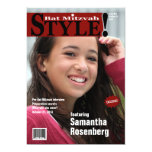 "Style! Bat Mitzvah Magazine Invitation, Red 5"" X 7"" Invitation Card"