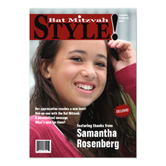 Style! Bat Mitzvah Magazine Thank You Card in Red