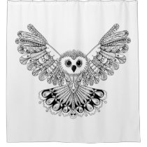 Style Black Owl Shower Curtain