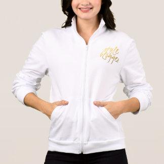Style Blogger - Gold Script Fleece Zip Jogger Printed Jacket