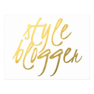 Style Blogger - Gold Script Postcard