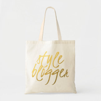 Style Blogger - Gold Script Tote Bags