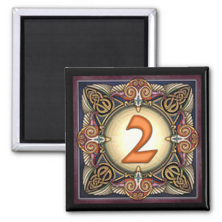 "Style C, ""2"" - Celtic Number Magnets"