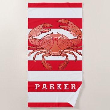 Beach Themed Style Crab Beach Towel